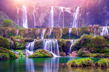 Photo sur cadre textile Chine Jiulong waterfall in Luoping, China.