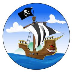 Cartoon pirate ship
