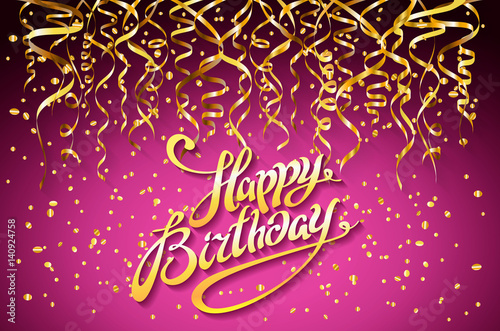 Happy Birthday Celebration Design Vector Gold Confetti Elements Greeting