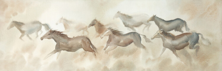 Herd of horses ridding watercolor