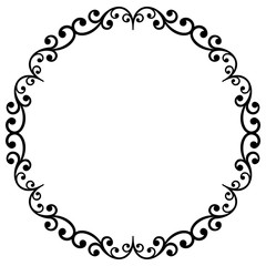 Oriental black and white round frame with arabesques and floral elements. Floral fine border. Greeting card with place for text