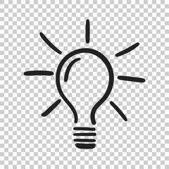 Light bulb icon sketch in vector. Hand drawn idea doodle sign. Vector illustration on isolated background.