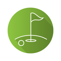 Golf course flat linear long shadow icon