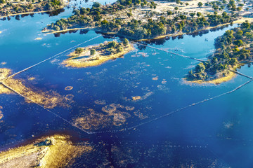 Okavango delta (Okavango Grassland) is one of the Seven Natural Wonders of Africa (view from the airplane) - Botswana