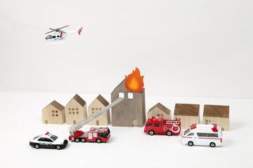 ミニチュアで再現した火災現場イメージ
