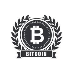 bitcoin emblem over white background. vector illustration