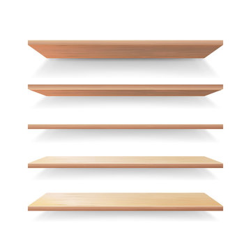 Empty Wood Shelves Template Vector Set. Realistic 3D Retail Store Wooden Shelves Set isolated