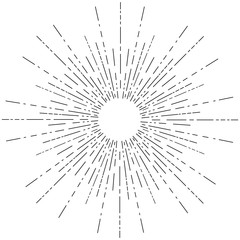 Linear drawing of rays of the sun.