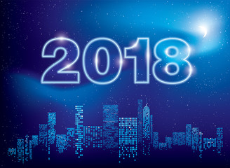 Happy New Year 2018 greeting card. City Lights. Vector illustration of city with lighting windows, the moon, and houses in winter time. Holidays concept.