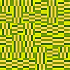 Green geometric pattern.