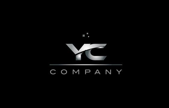 yc y c  silver grey metal metallic alphabet letter logo icon template