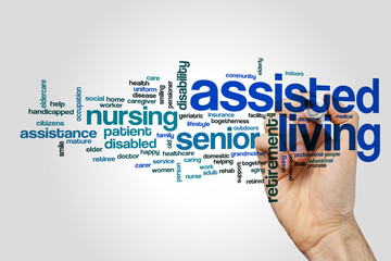 Assisted living word cloud concept on grey background
