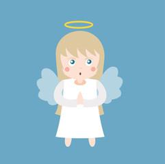 Cute angel with wings. Cartoon angel flat vector stock.