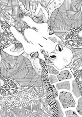 Coloring Book page for Adult. Giraffe