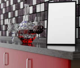 3D illustration of an empty kitchen table with a clean frame, Carafe, wine glass on a mosaic wall background