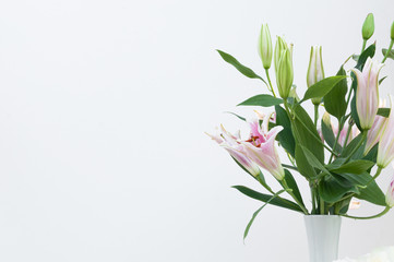 Bouquet of white lilies in a white vase on white background,for background
