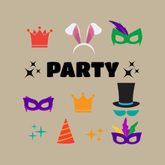 Party Birthday photo booth props. Hat and mask, costume and cylinder