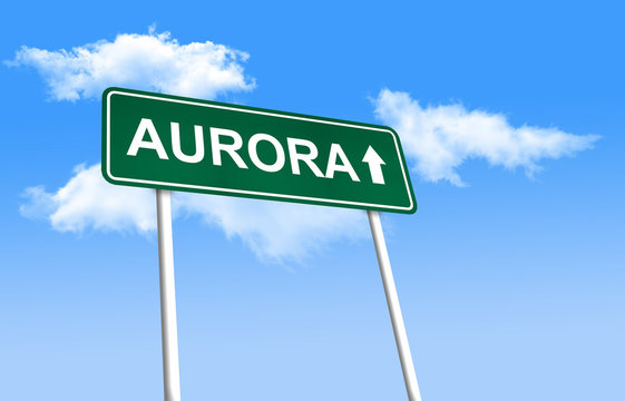 Road sign - Aurora. Green road sign (signpost) on blue sky background. (3D-Illustration)