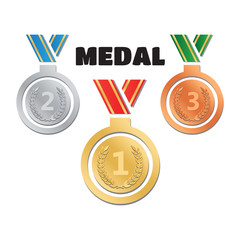 Set of gold medals, silver medals and bronze medals