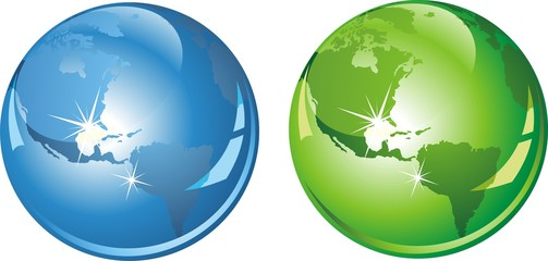 Earth in green and blue color. Vector illustration