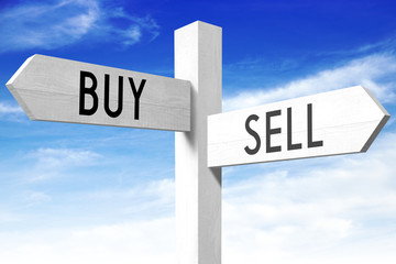 Sell, buy - wooden signpost