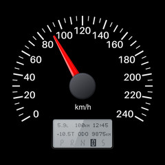 Black speedometer scale. Speed gauge