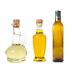 Set of extra virgin olive oil and sunflowerseed oil jars on a white background,bottle oil plastic big ,Bottle for new design,Small bottle of oil with cork stopper,oil concept