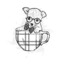 Cute puppy with glasses sits in a cup. Vector illustration for a card or poster. Funny dog.