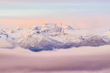 Italy, Trentino Alto Adige, Maddalene group, Cima Olmi in a wintertime sunrise.