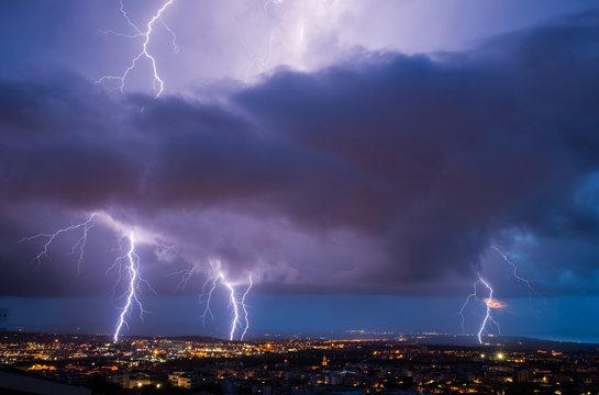 Lightning on Sassari city, Sassari province, sardinia, italy, europe.