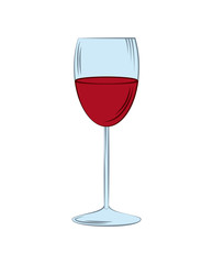 wineglass icon over white background. colorful design. vector illustration
