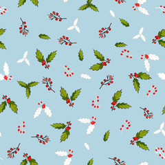 Pattern with holly branches.