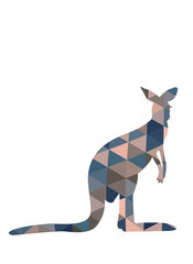 Silhouette of kangaroo in triangles.