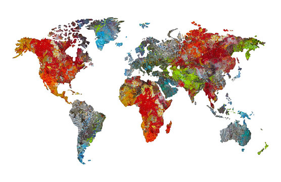 World map silhouette in palette of artist