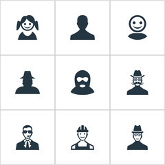 Vector Illustration Set Of Simple Avatar Icons. Elements Bodyguard, Spy, Moustache Man And Other Synonyms Internet, Girl And Mustache.