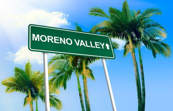 Road sign - Moreno Valley. Green road sign (signpost) on blue sky background. (3D-Illustration)