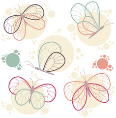 Bright colorful butterflies vector icon set.
