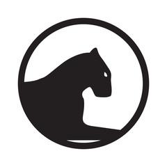 Panther logo. Emblem, mascot or team symbol. Vector wildcat.
