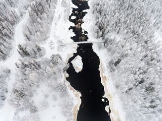 Drone image of river and snow covered landscape, Finalnd