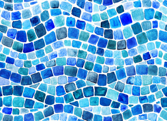 Wave blue mosaic