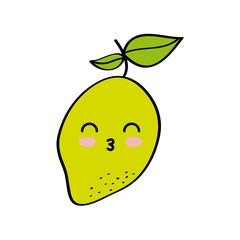 kawaii lemon fruit icon over white background. colorful design. vector illustration
