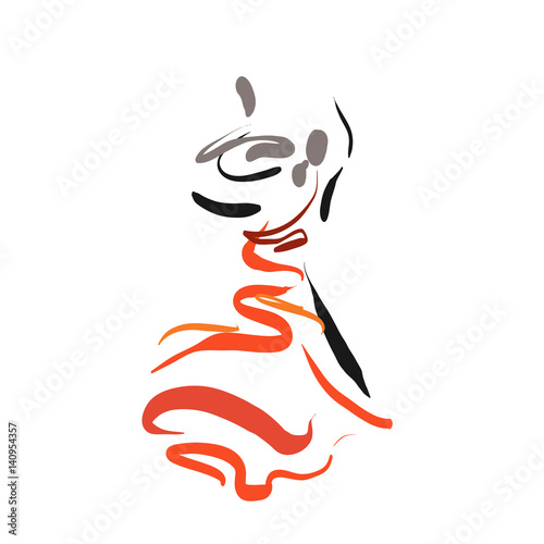 A Couple Is Dancing Simple Line Sketch Isolated On White Logo