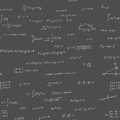 Formula algebra on a black background. Seamless pattern.