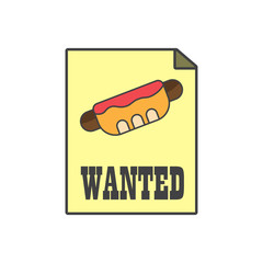 Dangerous hot dog,Street food,fast food on the paper,search of hot dog,vector image, flat design,outline style