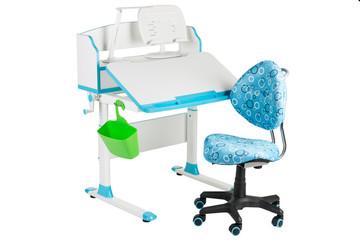 Blue chair, blue school desk, green basket and desk lamp