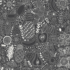 Fruit doodles seamless vector pattern. Hand drawn summer backdrop