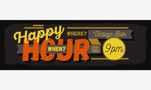 Happy Hour New Age Vintage Typographic Poster Header Web Banner