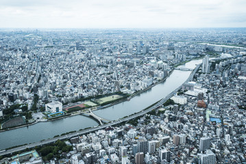 River and Tokyo cityscape, Japan