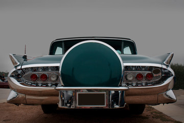 Rear View of Classic American Car