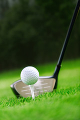 Shot of golf ball with golf club on green grass